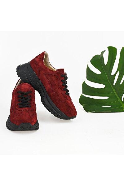 Kadın Hakiki Deri Bordo Sneaker