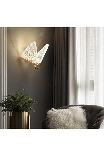 Elegance Modern Kelebek Tasarım Duvar Led Aplik Rose Gold Sarı Harika Görsel