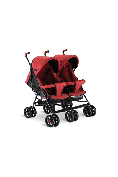 Kırçıllı Kırmızı Ikiz Baston Bebek Arabası Bh-610