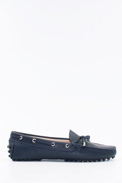 Kadın Lacivert  Deri Loafer Ayakkabı