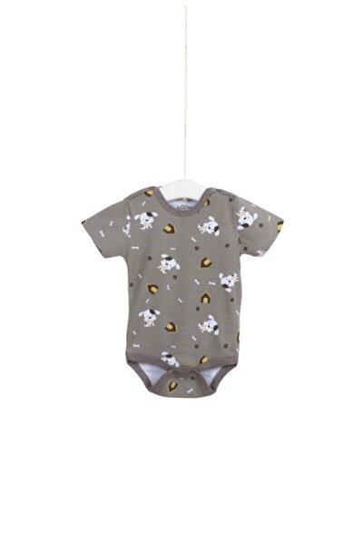 Unisex Bebek Bej  Ay Çıtçıtlı Badi