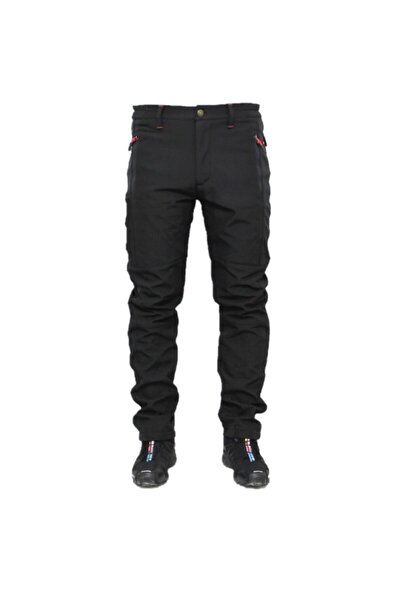 Siyah Su Ve Rüzgar Geçirmez Outdoor Trekking Softshell Pantolon