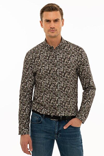 Erkek Haki Slim Fit Gömlek G021SZ004.000.1109133