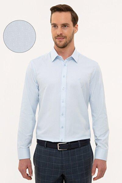 Erkek Açık Mavi Slim Fit Armürlü Gömlek G021GL004.000.1112708