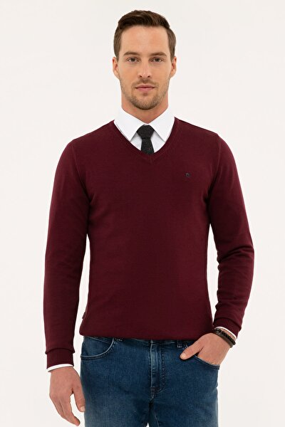 Erkek Bordo Slim Fit V Yaka Basic Triko Kazak G021SZ0TK.000.1171062
