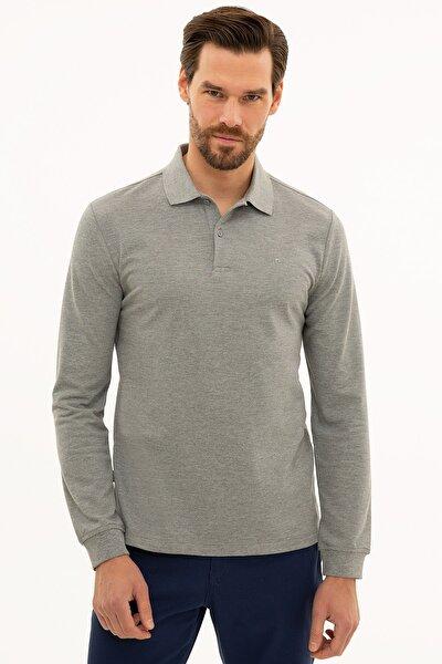 Erkek Gri Melanj Slim Fit Polo Yaka Sweatshirt G021GL082.000.1208969