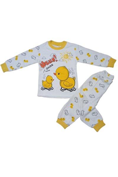 Merhaba Ördek Hello Temalı Sarı-beyaz 1-2-3 Yaş Unisex Pamukl 2 Li Alt Üst Çocuk Takım