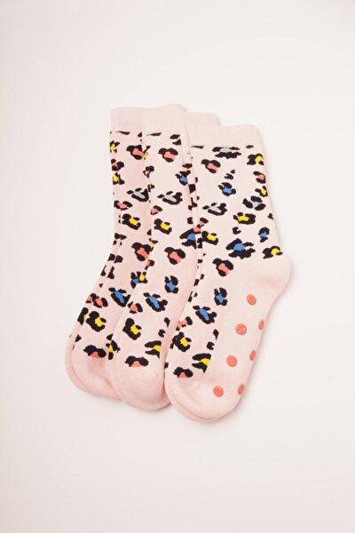3'lü Paket Desenli Çocuk Çorap - Pembe