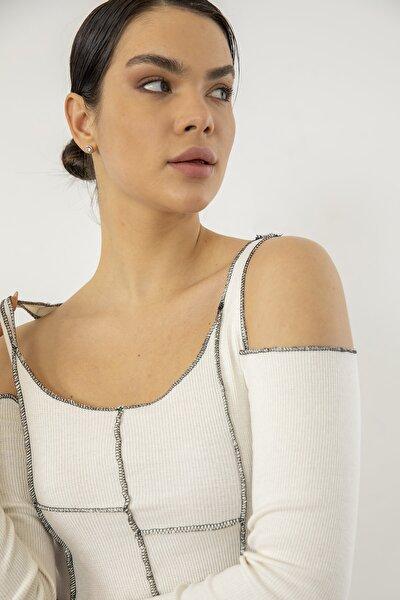 Kadın Ekru Omuz Detay Bluz