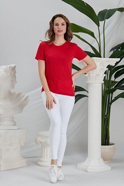 Kadın Kırmızı Basic Örme Bisiklet Yaka T-shirt