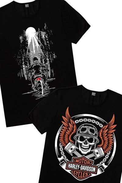 Erkek Siyah Motorcu Kurukafa Yalnız Kovboy 2'li Eko Paket T-shirt