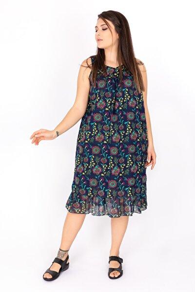 Kadın Sıfır Kollu Lacivert Robalı Tülbent Elbise