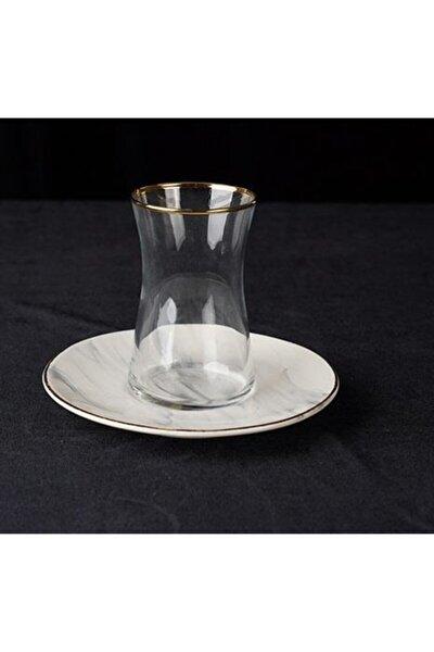 Mermer Serisi Beyaz 6'lı Porselen Çay Bardak Takımı 14cs-05