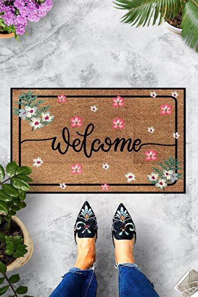 Dekoratif Kapı Önü Paspası Welcome Pembe Çiçek