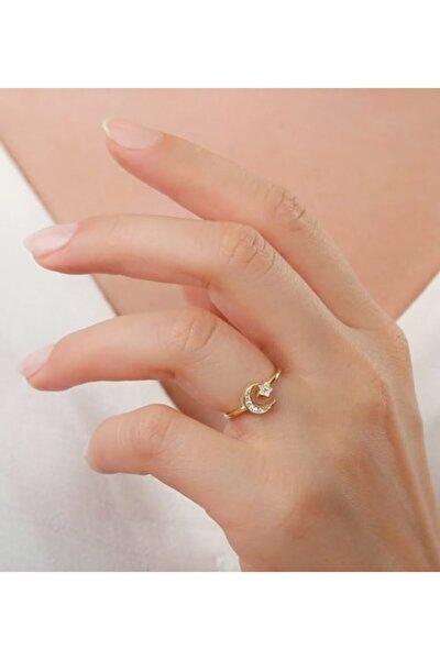 Kadın Altın Sarısı 925 Ayar Gümüş Ay Yıldızlı Yüzük