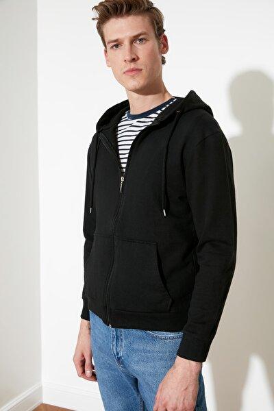Siyah Erkek Regular Fit Basic Kapüşonlu Fermuarlı Sweatshirt TMNAW20SW0262