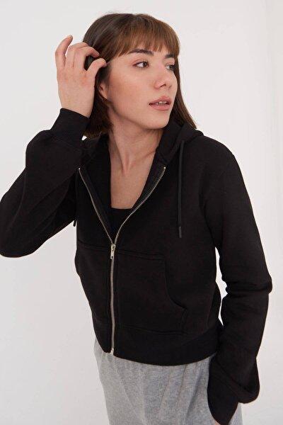 Kadın Siyah Kapüşonlu Hırka H0768 - J9J10 Adx-0000020944
