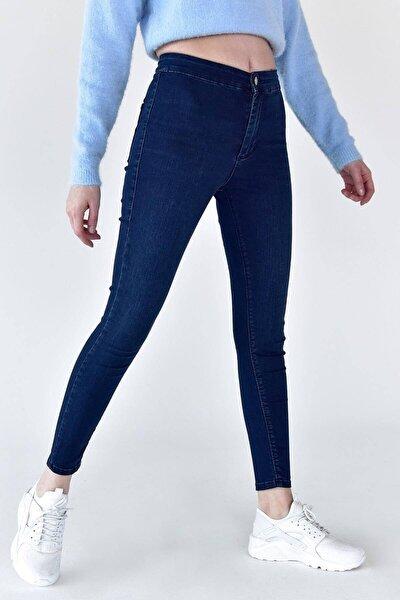 Kadın Koyu Kot Rengi Yüksek Bel Pantolon Pn6525 - Pnj Adx-0000021236