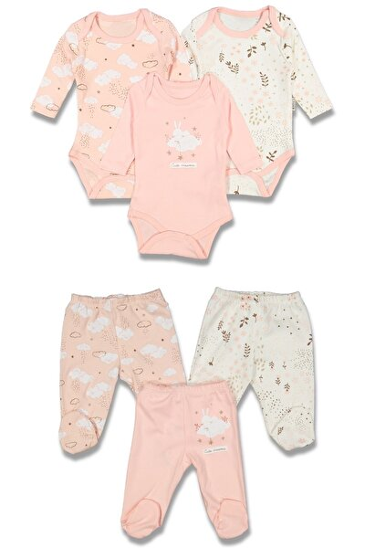 Kız Bebek Bulut Desenli Çıtçıtlı Badi 3 Takım 6 Parça