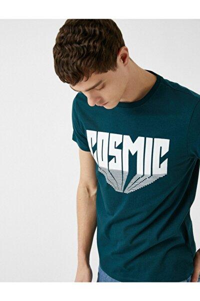 Erkek Yeşil Yazı Baskılı Pamuklu Kısa Kollu Bisiklet Yaka T-Shirt