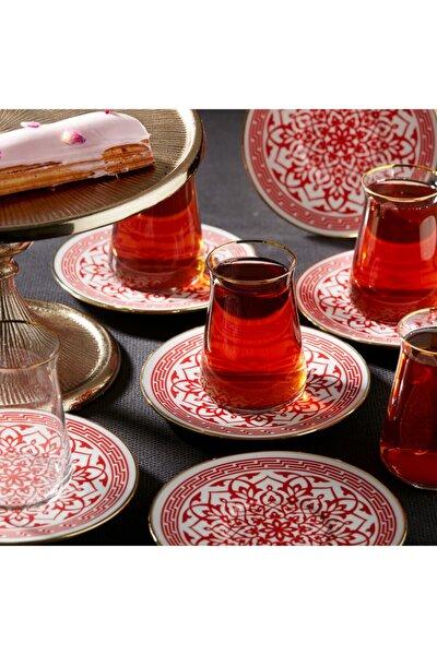 Ocha Kırmızı 12 Parça Çay Seti