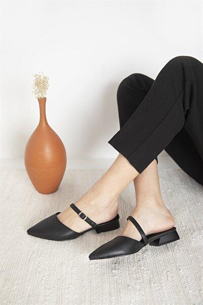 Kadın Siyah Vera Topuklu Deri Sandalet