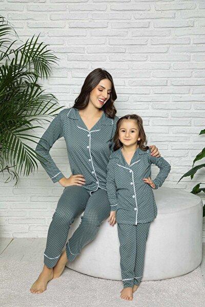 Yeşil Puantiyeli Düğmeli Anne Kız Pijama Takımı