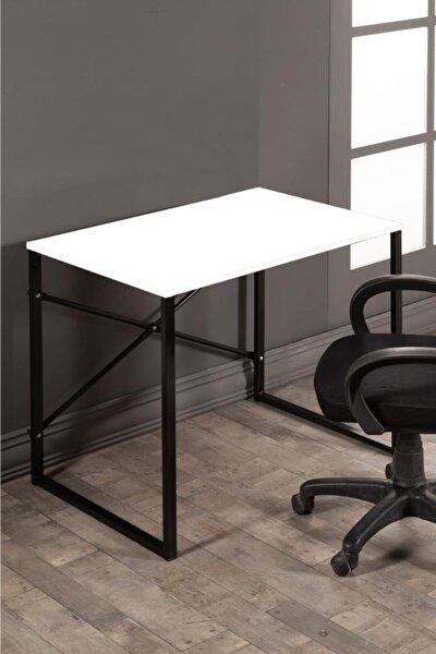 Metal Beyaz Çalışma Masası Bilgisayar Masası Ofis Ders Yemek Masası