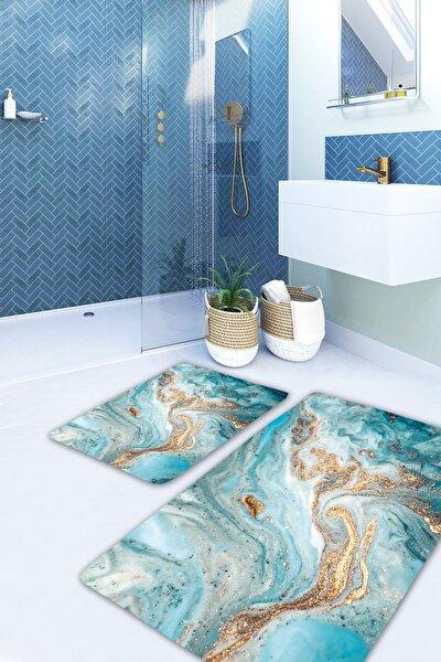 The Sky Mavi Gold Mermer Yıkanabilir 2li Banyo Halısı Paspas Klozet Takımı X