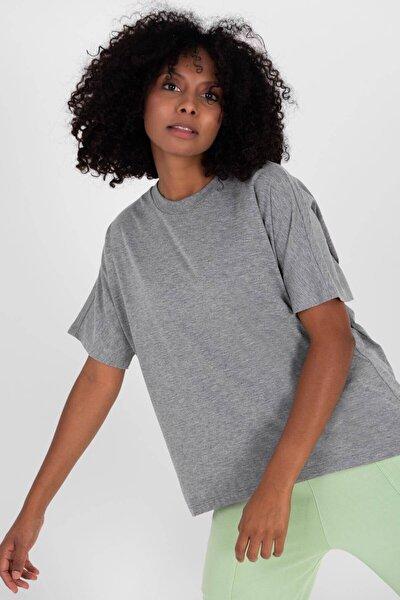 Kadın Gri Melanj Oversize Basic T-Shirt P0730 - J6J7 Adx-0000020569