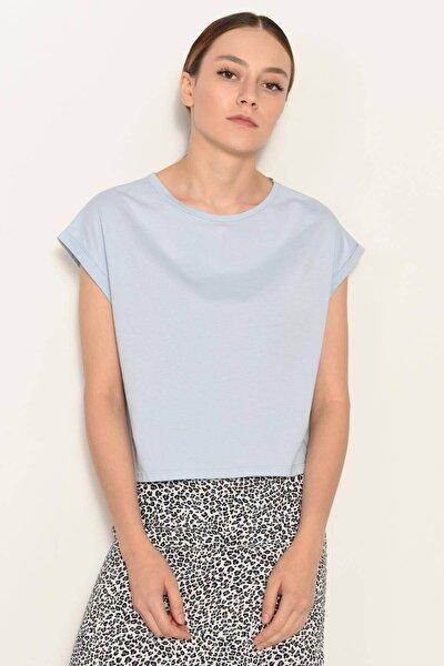 Kadın Mavi Bisiklet Yaka Basic T-Shirt P0934 - Dk3 Adx-0000022259