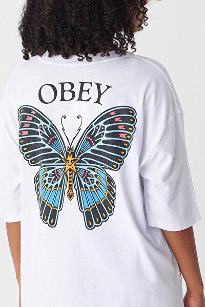 Kadın Beyaz Baskılı T-Shirt P1029 - J1 Adx-0000022711