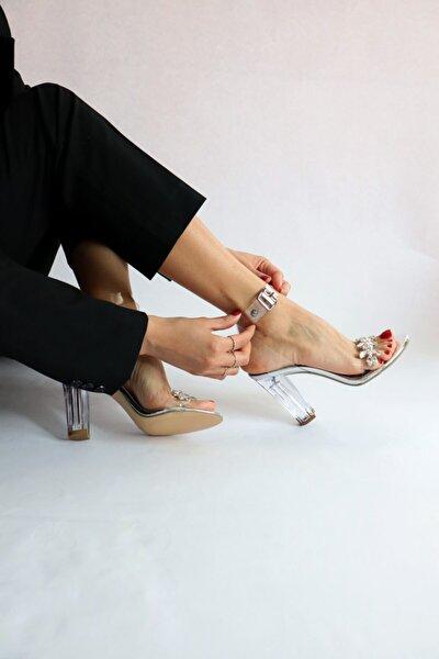 Gümüş Şeffaf Sandalet Taş Detaylı