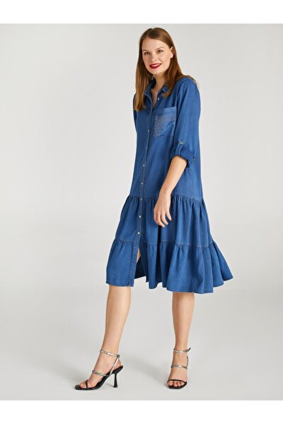 Kadın İndigo Zincir Detaylı Jean Elbise 62388