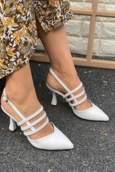 Kadın Beyaz Üç Bant Bilekten Tokalı Topuklu Ayakkabı