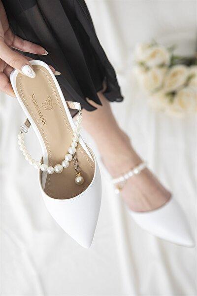 Kadın   Beyaz Elsa Inci Detay Topuklu Sandalet Beyaz