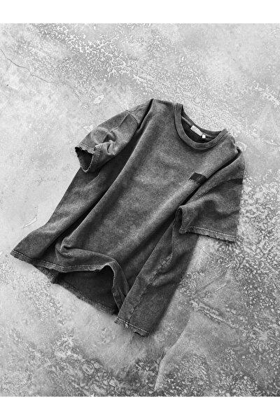 Erkek Gri Oversize Figür Baskılı Eskitme T-shirt