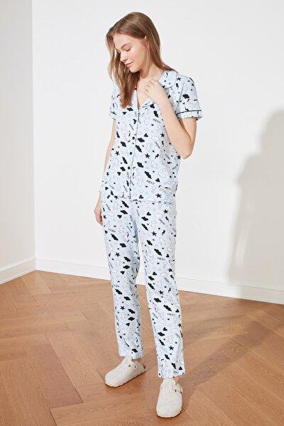 Mavi Grafik Desenli Örme Pijama Takımı THMSS19IP0037