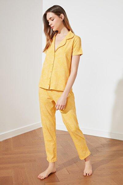 Hardal Desenli Örme Pijama Takımı THMSS19IP0035