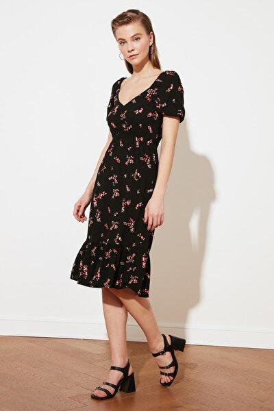 Siyah Desenli Volanlı Elbise TWOSS21EL2088