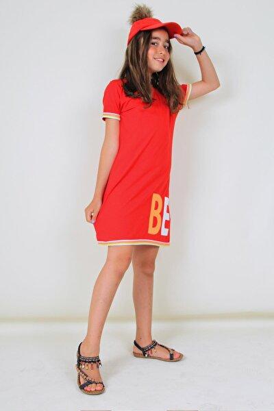 Kırmızı Kız Çocuk Yazı Baskılı Elbise Tunik