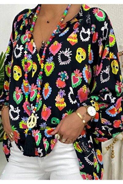 Yeni Model Kadın V Yaka Balon Kol Çok Renkli Bluz
