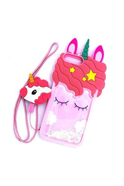 Iphone 8 Plus Uyumlu Boyundan Askılı Unicorn Desenli Sulu Simli Silikon Kılıf
