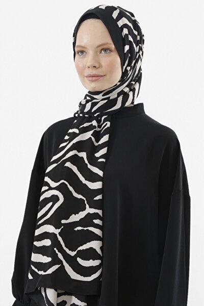 Kadın Medine Ipeği Şal Siyah - Beyaz 05