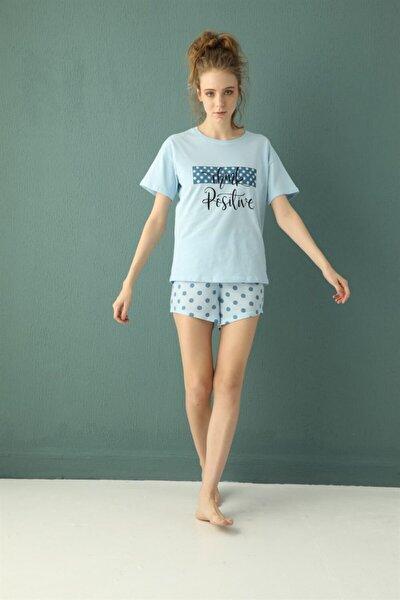 Pamuklu Baskılı Kısa Kollu Şortlu Pijama Takımı 30122-37