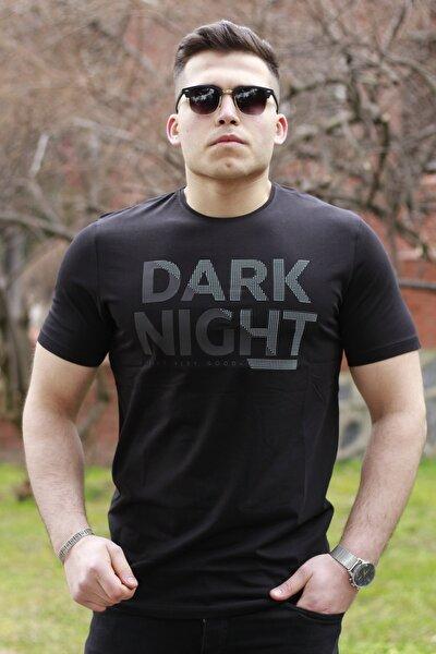 Orijinal Baskılı ''dark Night'' Desenli Siyah T-shirt