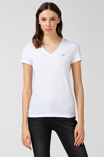 Kadın Slim Fit V Yaka Beyaz T-Shirt