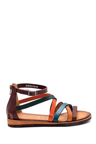 Kadın Kahverengi Deri Sandalet