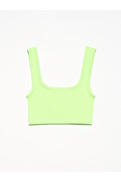 Kadın Neon Yeşil Crop Top Bluz 3673