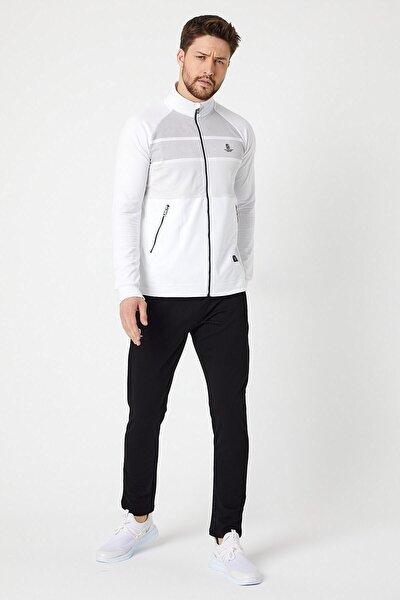 Fermuarlı Beyaz Desenli Pamuklu Erkek Eşofman Takımı